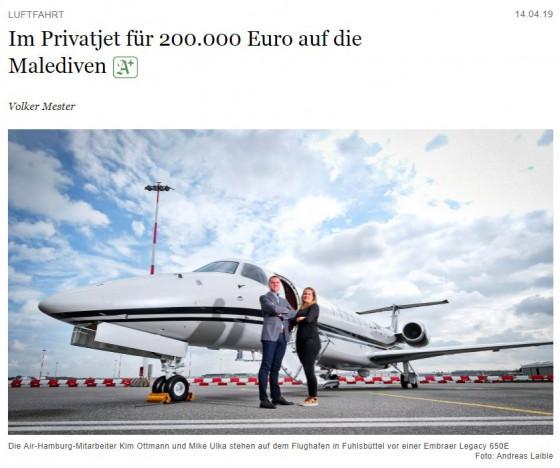 Im Privatjet für 200.000 Euro auf die Malediven