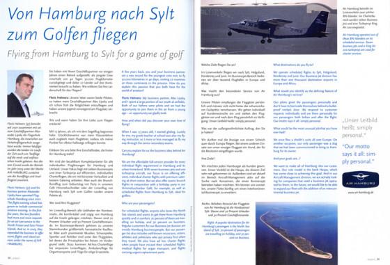 Von Hamburg nach Sylt zum Golfen fliegen