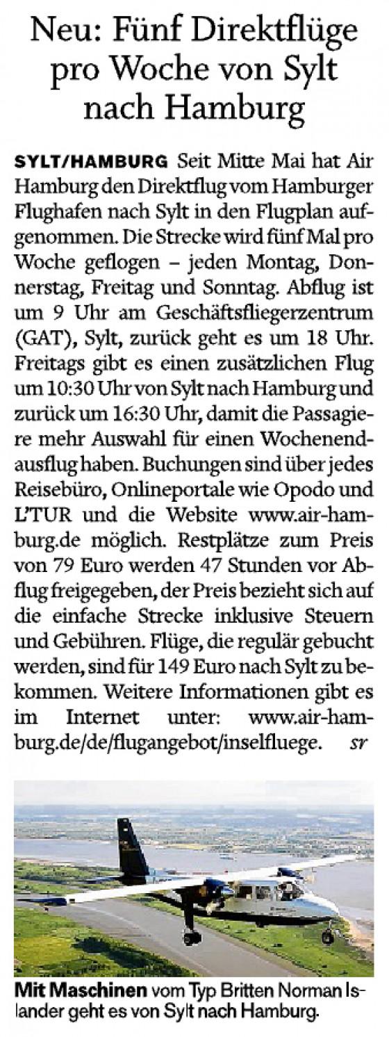 Neu: Fünf Direktflüge pro Woche nach Hamburg